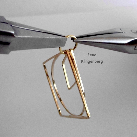 Twisting jump ring shut for Loops & Hoops Earrings - Tutorial by Rena Klingenberg