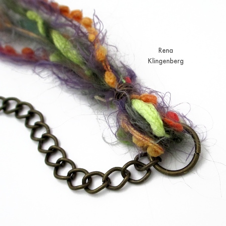 Adding chain to Mixed Media Gypsy Necklace - Tutorial by Rena Klingenberg