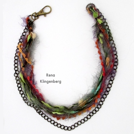 Fiber and chain strands - Mixed Media Gypsy Necklace - Tutorial by Rena Klingenberg