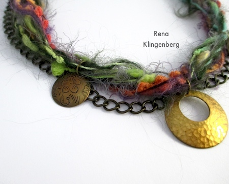 Attaching second pendants for Mixed Media Gypsy Necklace - Tutorial by Rena Klingenberg