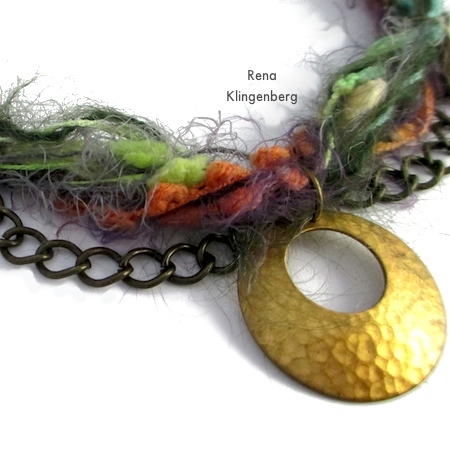 Attaching center pendant for Mixed Media Gypsy Necklace - Tutorial by Rena Klingenberg