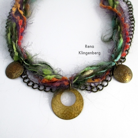 Three pendants attached to Mixed Media Gypsy Necklace - Tutorial by Rena Klingenberg