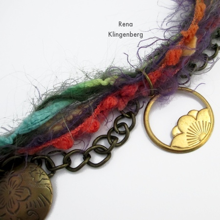 Attaching last pair of pendants to Mixed Media Gypsy Necklace - Tutorial by Rena Klingenberg