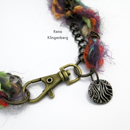 Attaching tiny pendant to clasp for Mixed Media Gypsy Necklace - Tutorial by Rena Klingenberg