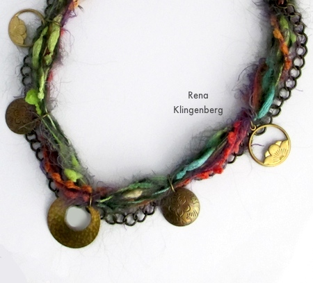 Five pendants attached to Mixed Media Gypsy Necklace - Tutorial by Rena Klingenberg