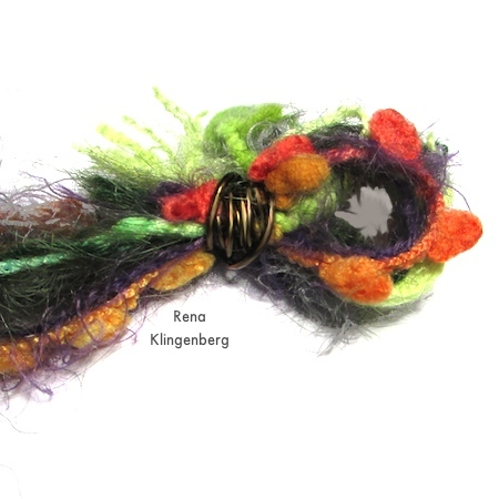 Wire binding for fiber loop - Mixed Media Gypsy Necklace - Tutorial by Rena Klingenberg