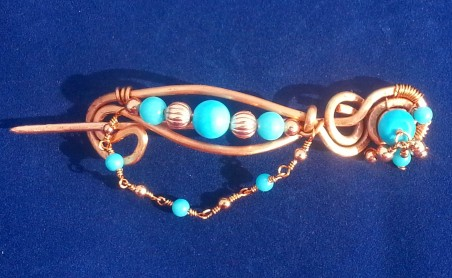 Native American Sleeping Beauty Turquoise Shawl Pin, Scarf Pin by Debi Woods  - featured on Jewelry Making Journal