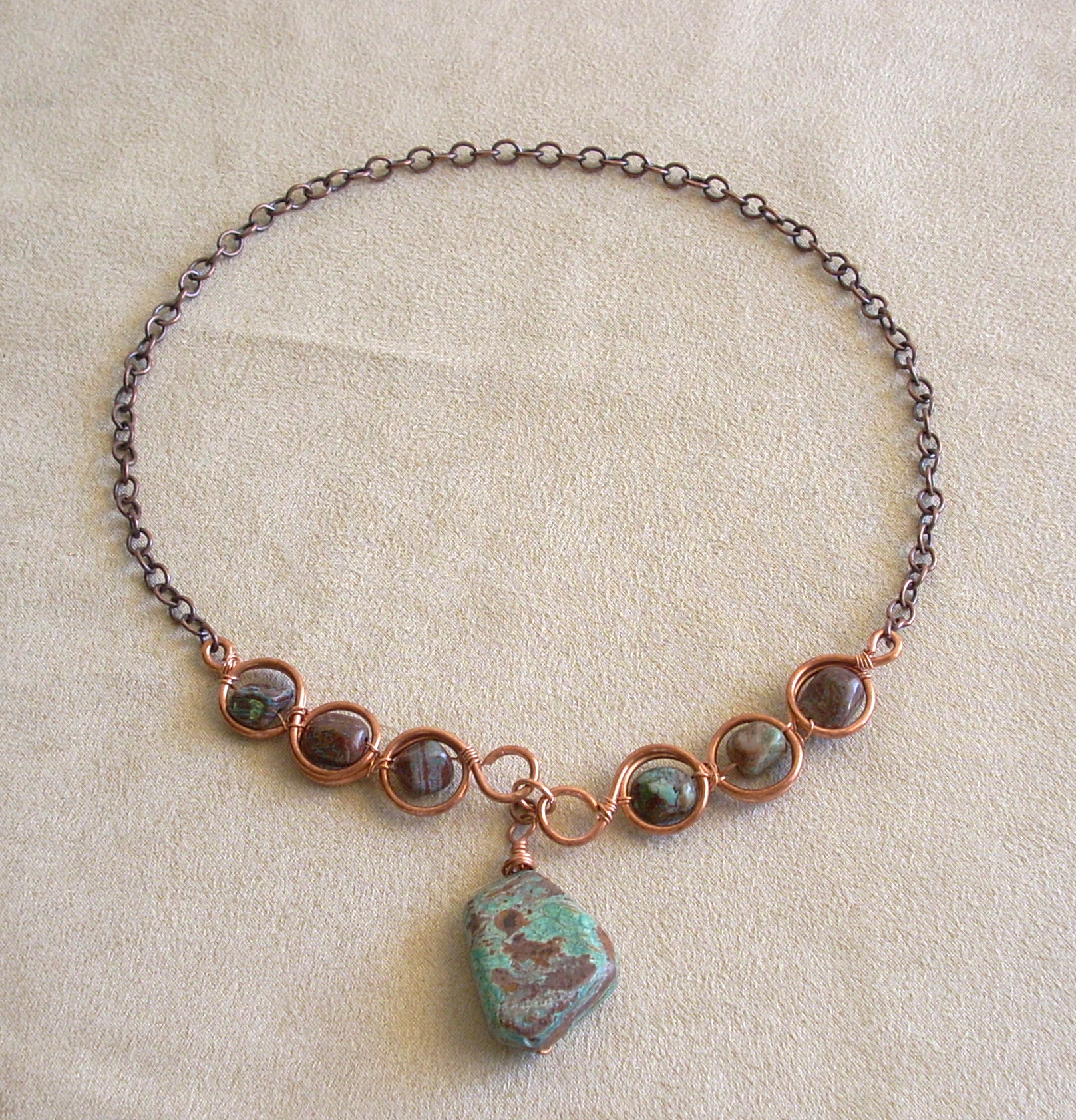 Chrysocolla Jasper with Copper Wire