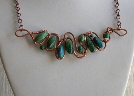 Necklace - Chrysocolla and Copper Wire by Nancy Vaughan  - featured on Jewelry Making Journal