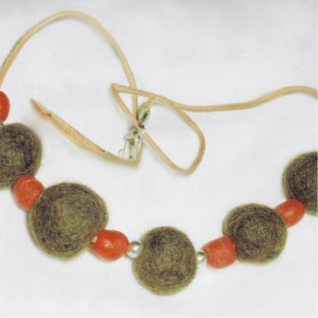 Wool bead necklace by Marcia Wisehoon  - featured on Jewelry Making Journal