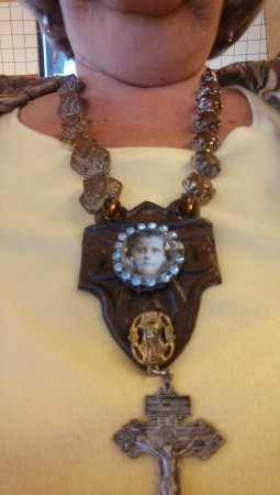 Vintage Jewelry Assemblage Necklace by Deborah Rodriguez  - featured on Jewelry Making Journal
