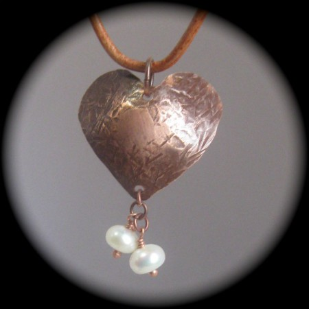 Textured copper heart pendant by Dianne Jacques  - featured on Jewelry Making Journal