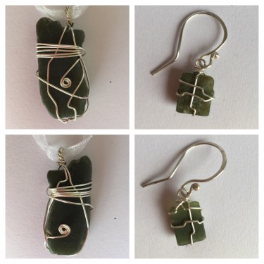 Netted Greenstone Earrings and Pendant