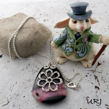 Gemstone pendant with silver wire bail by Annie Laughton - featured on Jewelry Making Journal