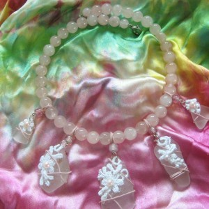 White Beach Glass and Rose Quartz Jewellery