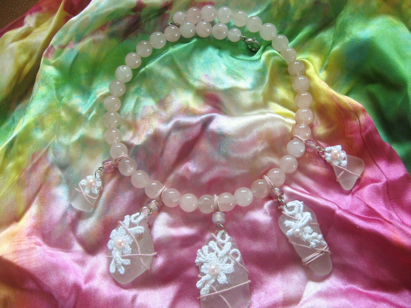 White Beach Glass and Rose Quartz Jewellery