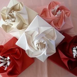 Origami Rose Boxes for Jewelry