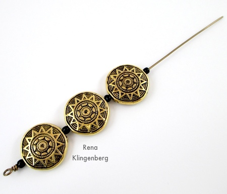 Stringing beads onto wire for Beads and Chains Bracelet - Tutorial by Rena Klingenberg