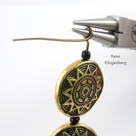 Making the second wire wrapped loop for Beads and Chains Bracelet - Tutorial by Rena Klingenberg