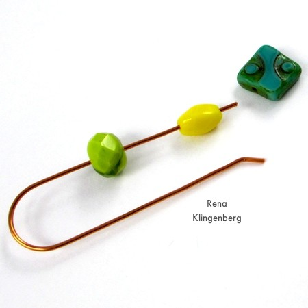 Stringing beads onto the wire for Changeable Bead Earrings - tutorial by Rena Klingenberg
