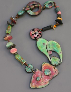 Rusty Garage Polymer Clay Necklace