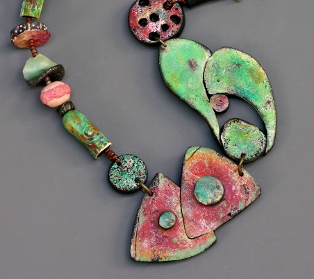 Close-up of Rusty Garage Necklace by Terri Wlaschin  - featured on Jewelry Making Journal