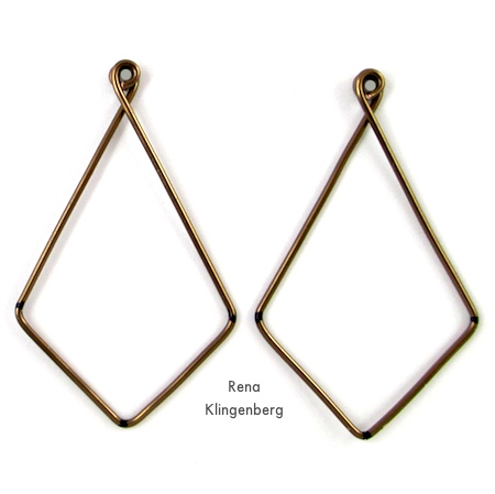 Pair of wire hoops for Hoops and Chains Earrings - Tutorial by Rena Klingenberg