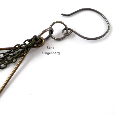 Attaching earwire to Hoops and Chains Earrings - Tutorial by Rena Klingenberg