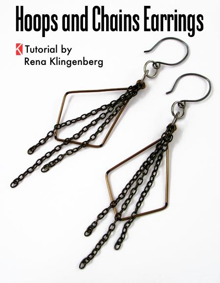 Hoops and Chains Earrings - Tutorial by Rena Klingenberg