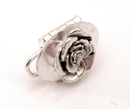 Clasp Design by Lady Mockingbird - with a textured oval & A 3-d rose soldered onto the lid - featured on Jewelry Making Journal