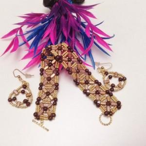 Rose Gold Topaz Bricks Jewelry Set
