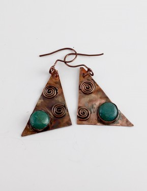 Chrysocolla and Copper Triangle Earrings