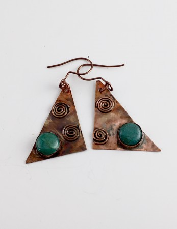 Chrysocolla and Copper Triangle Earrings by Sandra Doss  - featured on Jewelry Making Journal