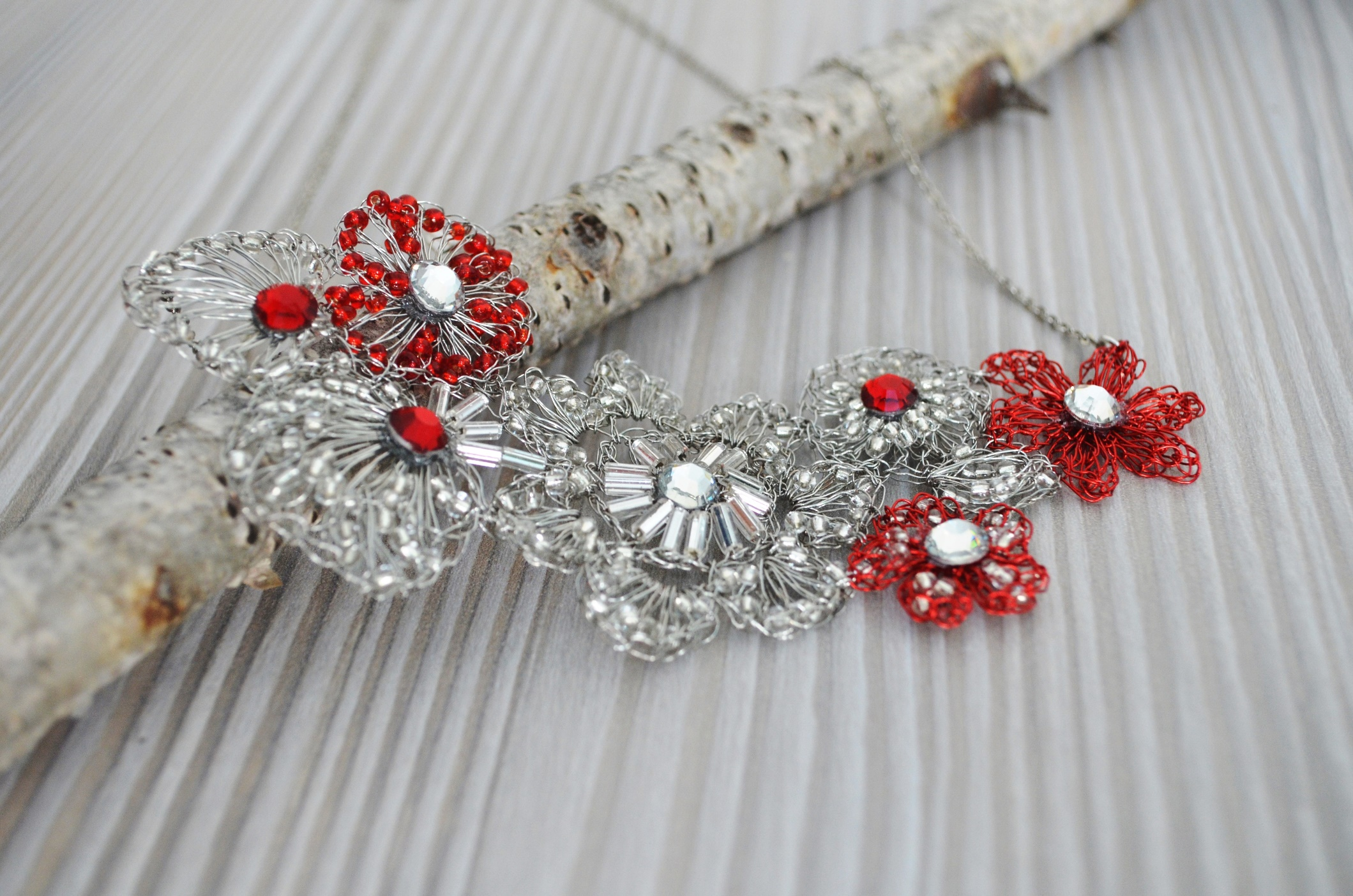 Free Form Crochet Wired! Red and Silver Wire Combined