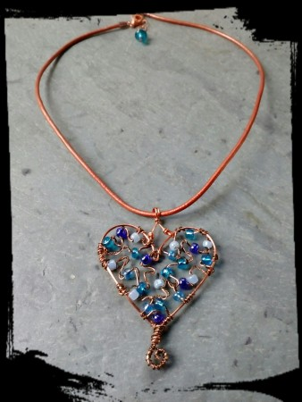 Bead and wire necklace by Pam Wilson  - featured on Jewelry Making Journal