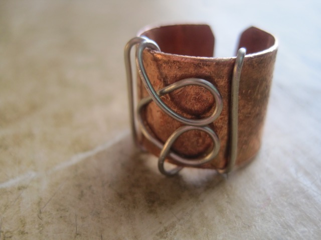 Unique Metal and Wire Copper Heart Ring