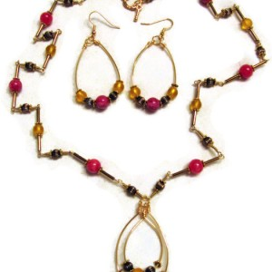 Funky Beaded Necklace and Earrings