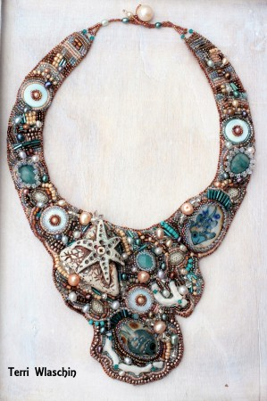 Clay heart, gemstones, glass - Necklace by Terri Wlaschin  - featured on Jewelry Making Journal