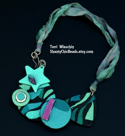 Polymer Clay Bead Bib Necklace by Terri Wlaschin  - featured on Jewelry Making Journal