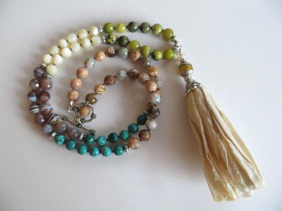Sari Silk Tassel Necklace With Gemstone & Silver