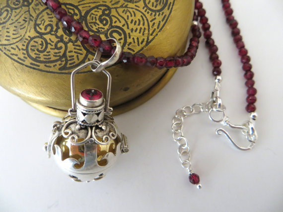 Garnet Gemstone Necklace With Balinese Chime Ball Pendant