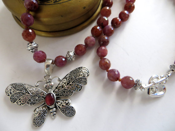 Natural Ruby Necklace With Bali Silver Butterfly