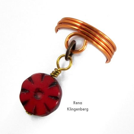 Getting ready to attach a charm to the ring - Wire Charm Ring - Tutorial by Rena Klingenberg