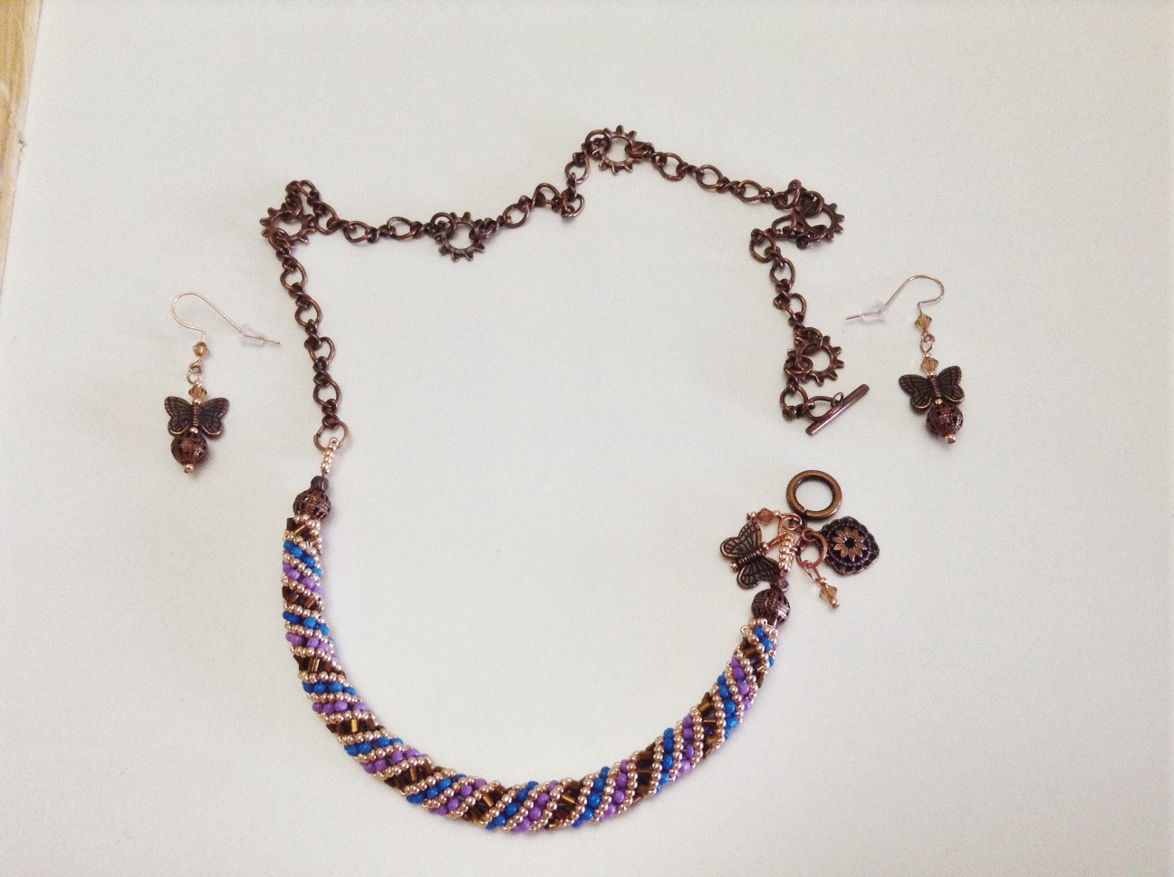 Spiral, Copper Chain, Charms, Crystals