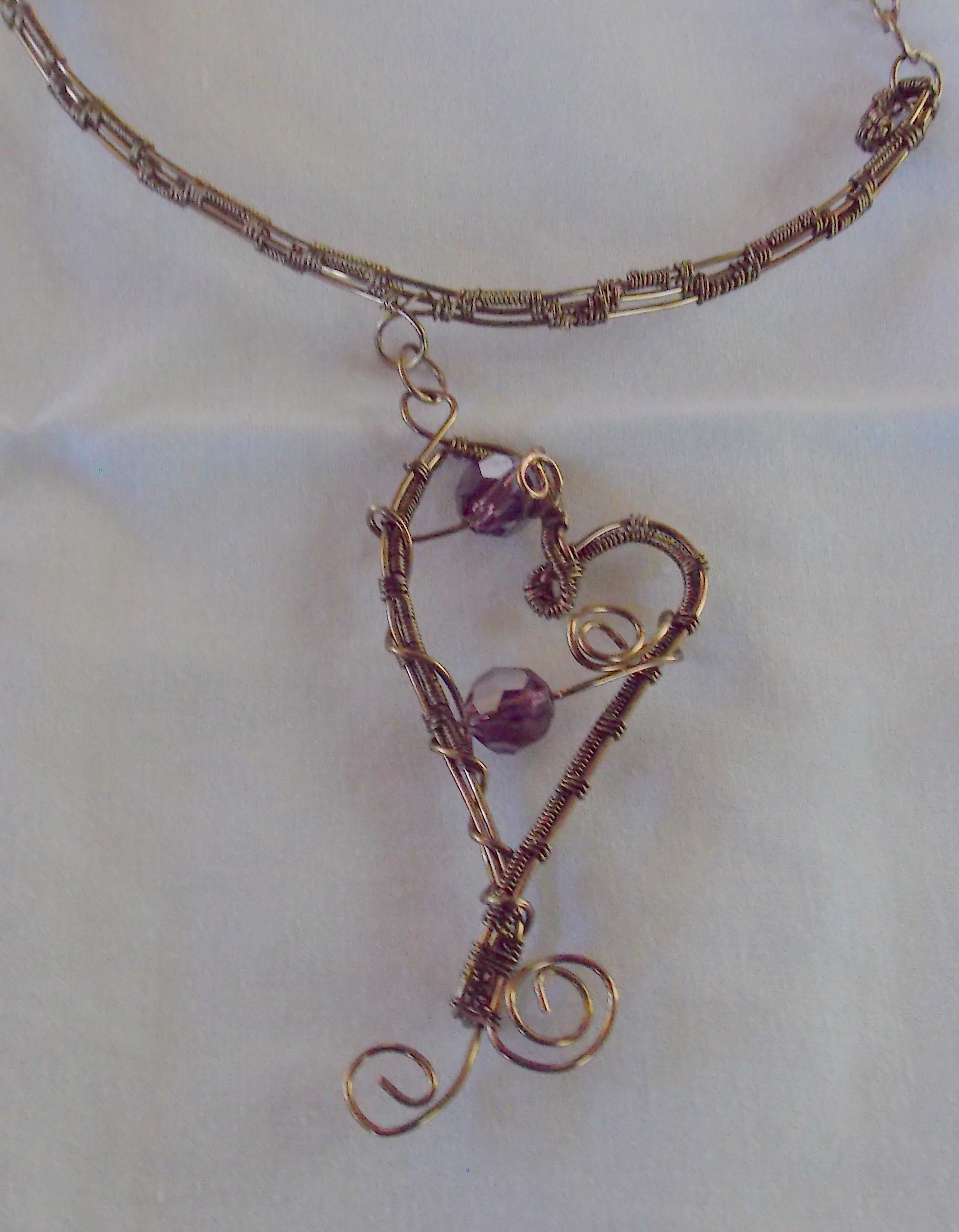 Woven Wire Heart Choker in Antique Brass