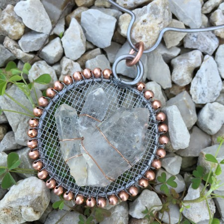 Tibetan Quartz Trio in Steel and Copper Frame by Joanne Klauber  - featured on Jewelry Making Journal