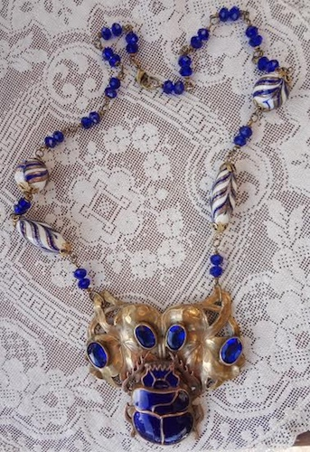 Antique Scarab Necklace by Debra Lowe  - featured on Jewelry Making Journal