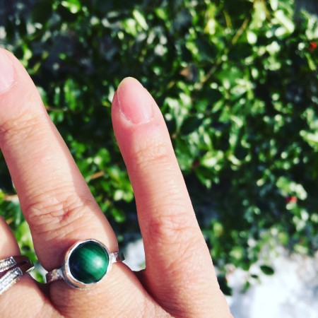 Malachite ring - first one I made by Janine Gerade  - featured on Jewelry Making Journal