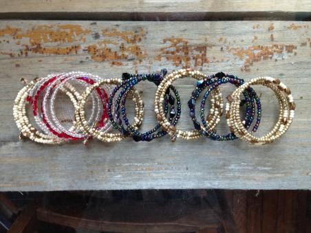 Czech glass beaded memory wire bracelets, by Natasha Burger  - featured on Jewelry Making Journal