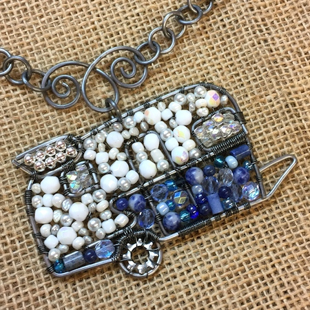 Vintage Trailer Beaded Pendant